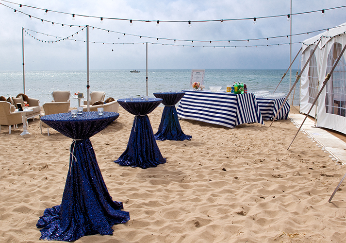 Navy Sequin Linens On Cocktail Tables